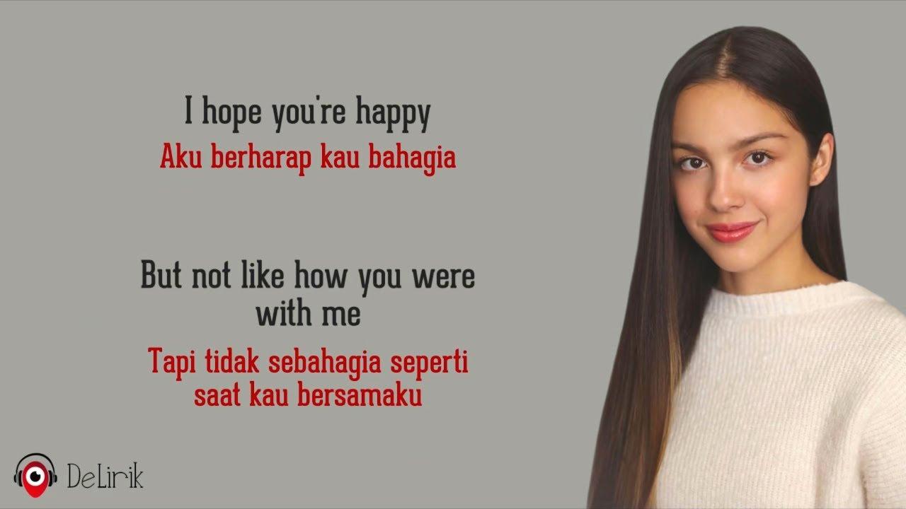 Happier – Olivia Rodrigo (Lirik Lagu Terjemahan) – TikTok I hope you're happy but don't be happier