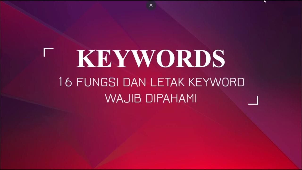 Mengenal Apa Itu Keyword (Kata Kunci) Tutorial SEO
